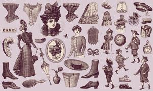 19世纪欧洲人物与服装矢量素材