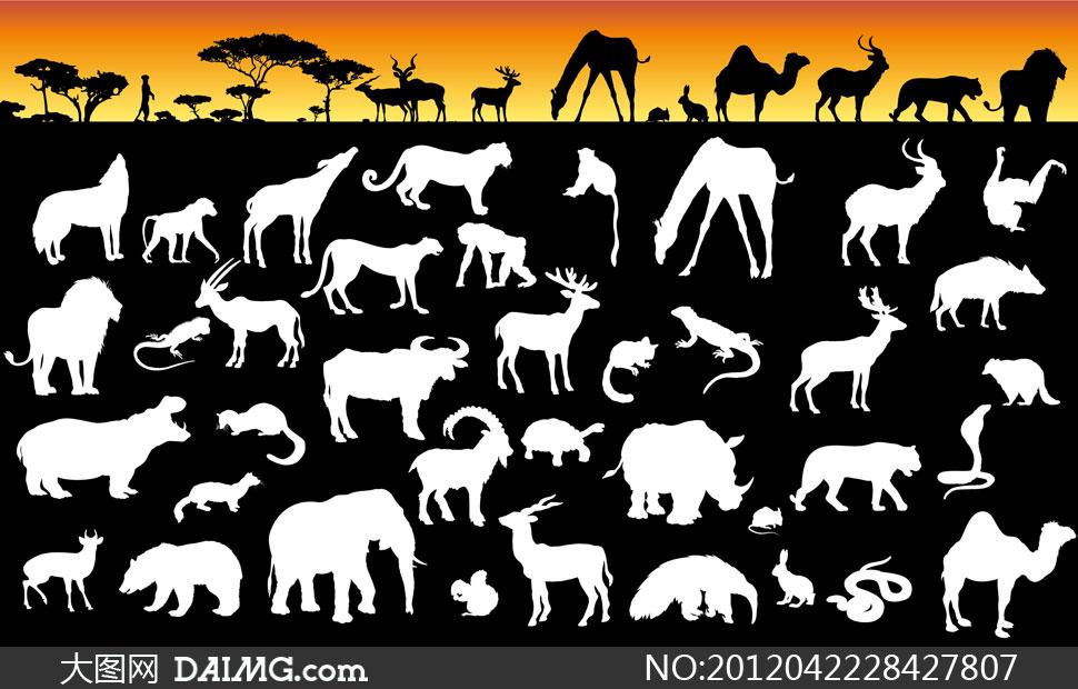 树木与多种动物剪影矢量素材