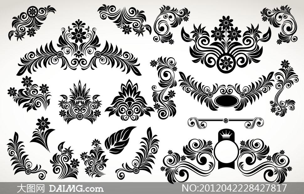 黑白装饰花纹矢量素材;