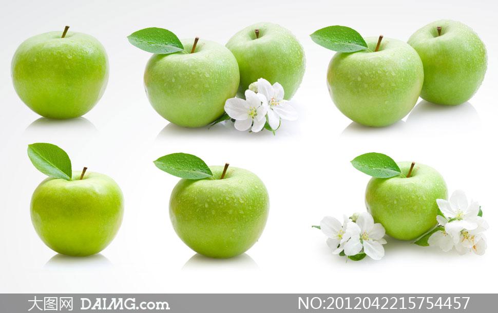 青苹果与白色花朵高清摄影图片图片