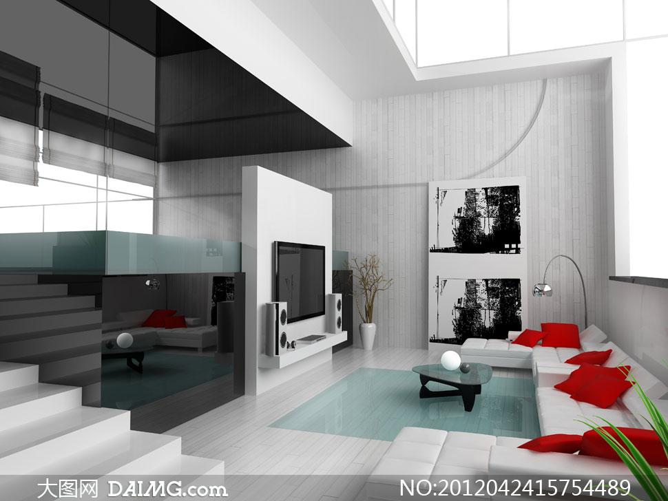 室內裝修裝飾效果圖家裝渲染圖復式臺階電視機音箱干枝黑白畫掛畫裝