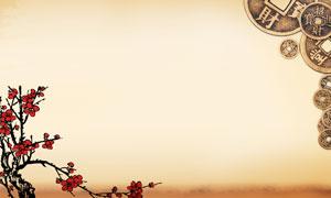 銅錢與梅花古典背景高清圖片