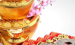 金元宝鞭炮铜钱新年主题高清图片