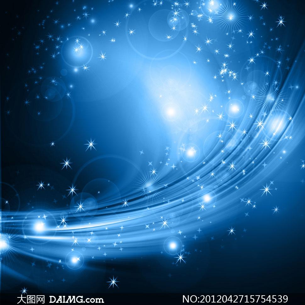 蓝色星光曲线背景高清图片