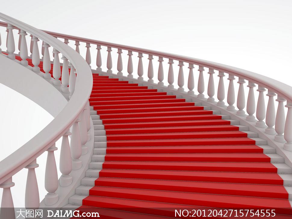 铺红毯的欧式旋转楼梯高清图片