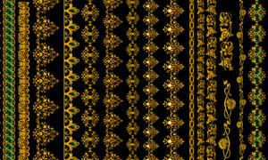 金色花纹花边设计元素PSD素材
