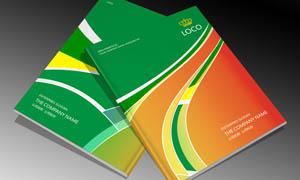 橙绿色画册封面设计矢量素材