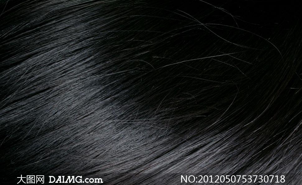黑亮头发纹理背景高清摄影图片图片