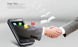 商务人士握手姿势与手机PSD分层素材