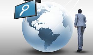 地球显示器与人物背影PSD分层素材