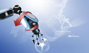 机器手臂与红色箭头PSD分层素材