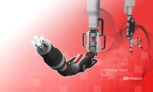 机器手臂与线条曲线PSD分层素材