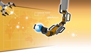 机器手臂与地图地球PSD分层素材