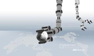机器手臂与世界地图PSD分层素材