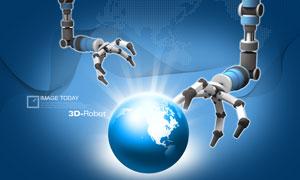 机器手臂与地球线条PSD分层素材