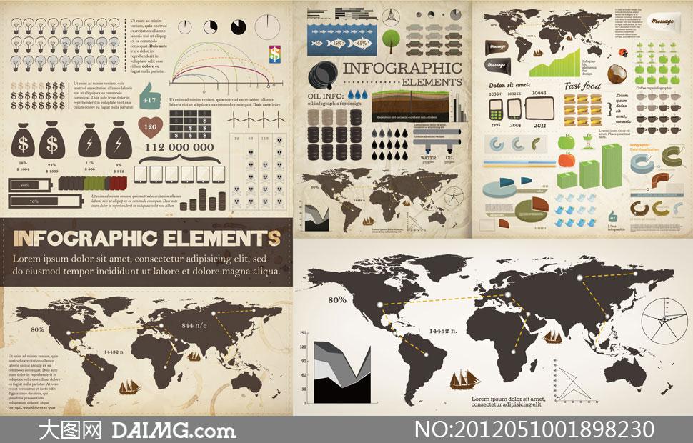 统计数据图表设计元素矢量素材