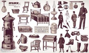 欧洲复古人物与家具物件矢量素材