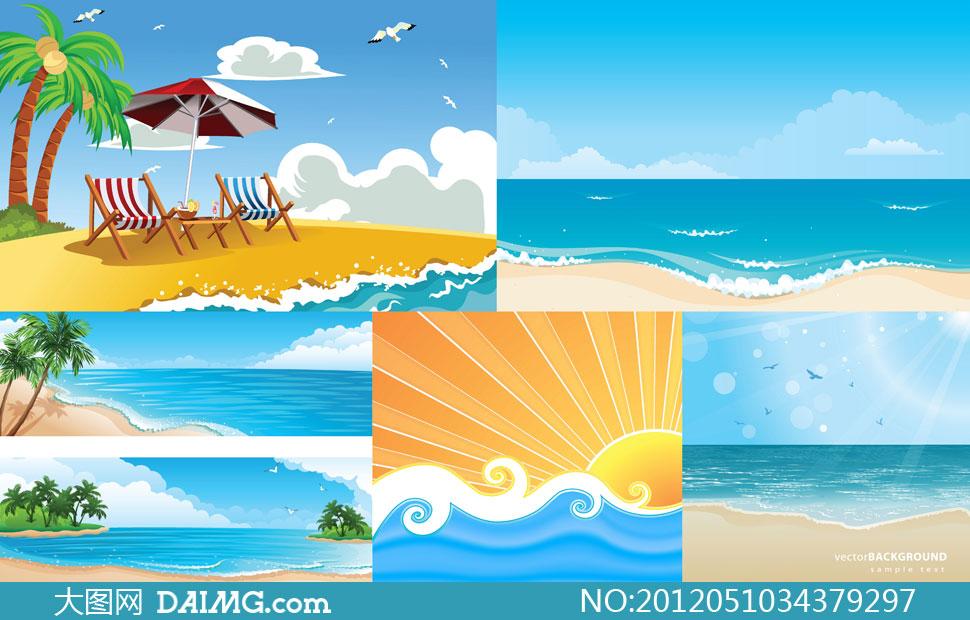 树沙滩椅躺椅太阳伞遮阳伞白云云朵飞鸟海鸥浪花海浪
