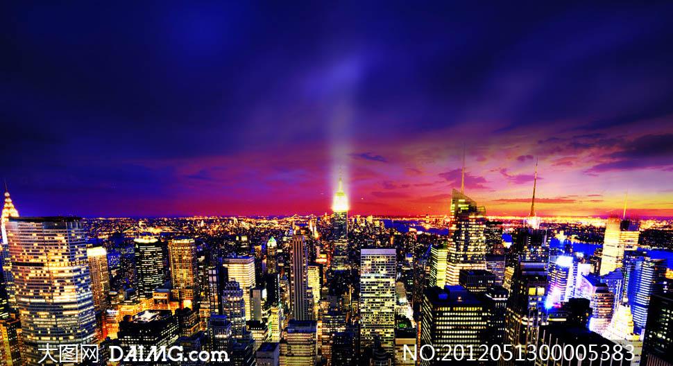 关键词: 城市夜景城市夜景紫色红色灯光天空高楼大厦灯光繁华写字楼图片