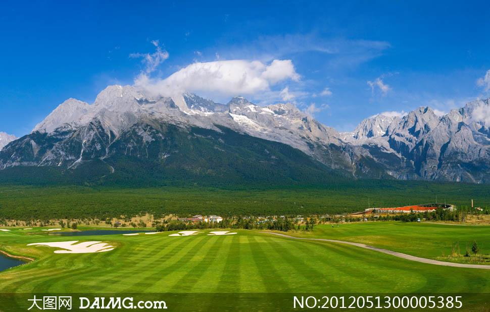 干海子高尔夫球场蓝天白云天空云彩云朵自然风景自然景观摄影图片素材图片