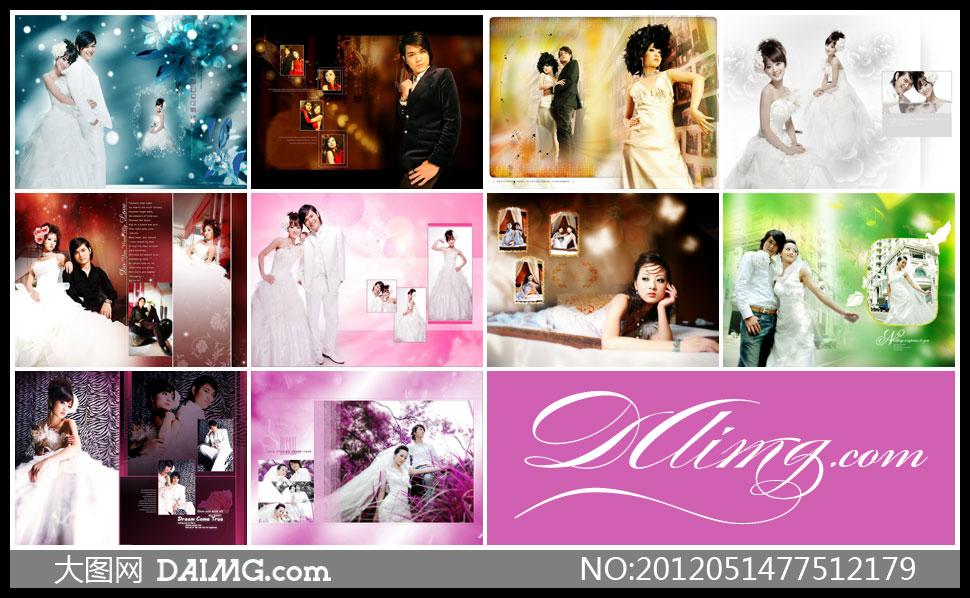 模板婚纱照摄影版式设计版面设计相片模板照片模板婚纱写真时尚紫色