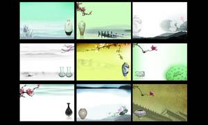 中国风陶瓷广告背景设计PSD源文件