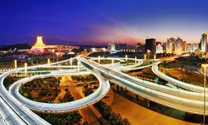 城市立交桥夜景摄影图片