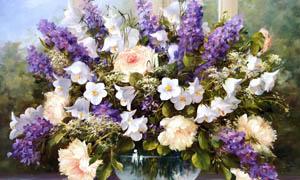 花卉油画盆景设计图片素材
