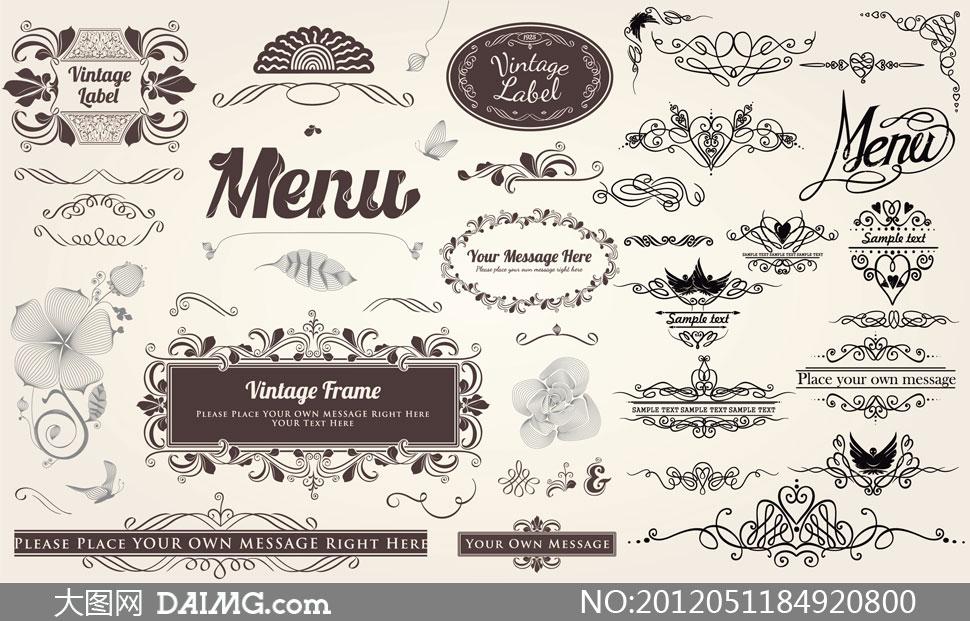 复古怀旧花纹花边边框装饰边角标签设计元素menuvintageframelabel