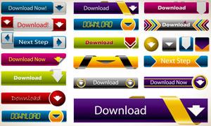 多种色彩网页下载按钮矢量素材