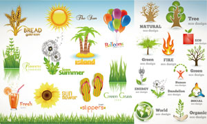 拖鞋草丛向日葵小麦等矢量素材