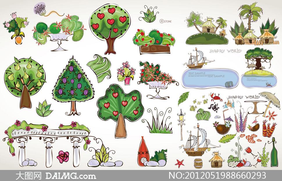 矢量素材矢量图设计素材树木夏天卡通植物大树房子房屋帆船树叶叶子