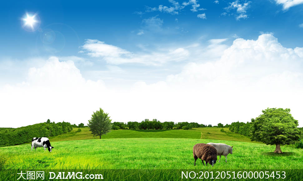 蓝天白云下的草地和树木psd分层素材