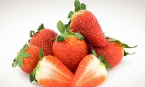 新鲜红色草莓近景摄影高清图片
