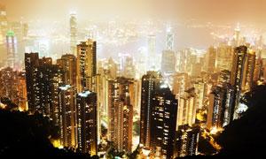 太平山上鸟瞰香港夜景摄影高清图片