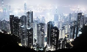 繁华城市夜景鸟瞰视角摄影高清图片