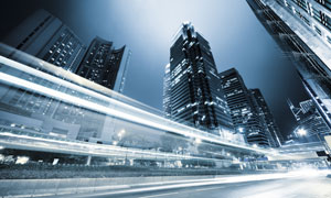 冷色调城市动感夜景摄影高清图片