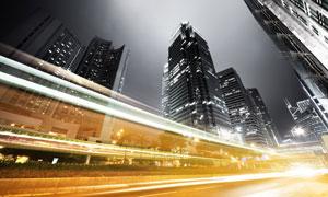 灯火通明的繁华城市夜景摄影高清图片