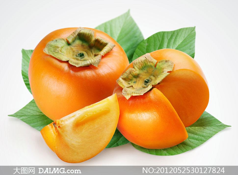 成熟的柿子特写摄影高清图片