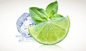 柠檬片冰块与薄荷叶摄影高清图片