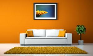 橙色简约设计风格客厅效果高清图片
