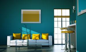 湖蓝色简约现代风格家居高清图片