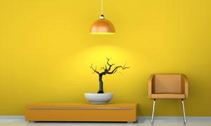 黄色墙壁与盆栽效果图椅子高清图片