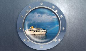 透过舷窗看到的大型船只高清摄影图片