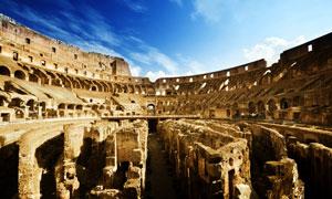 罗马斗兽场建筑物内部摄影高清图片