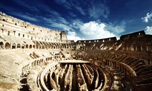 罗马斗兽场内部鸟瞰摄影高清图片