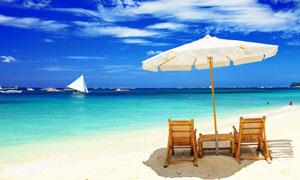 夏日长滩岛海滩风景摄影高清图片