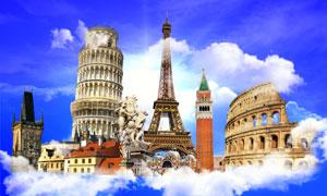 云层之上的世界地标建筑物高清图片