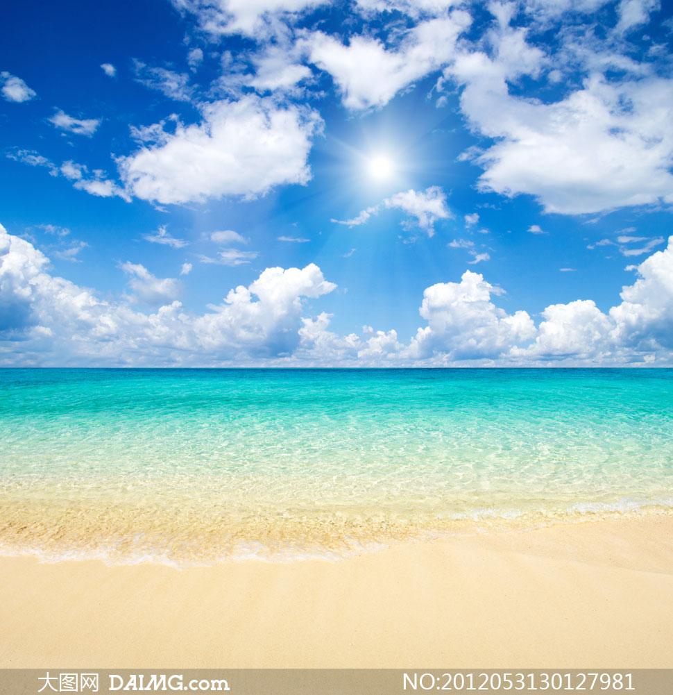 蓝天白云大海风景摄影高清图片图片