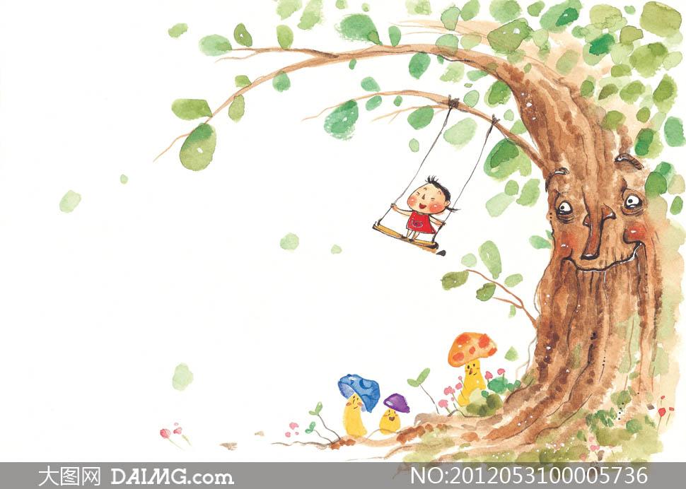 童年手绘水彩画设计图片素材